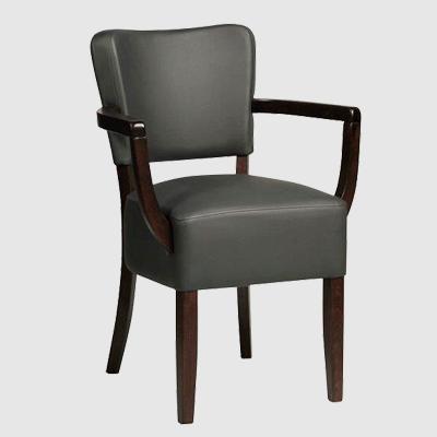 Tapacirana drvena stolica sa drvenim rukonaslonom